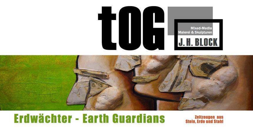 Einladungskarte, Erdwächter, Earth Guardians, J.H.BLOCK, Mühlheim an der Ruhr, Düsseldorf, Galerie, Gallery, tOG-Düsseldorf