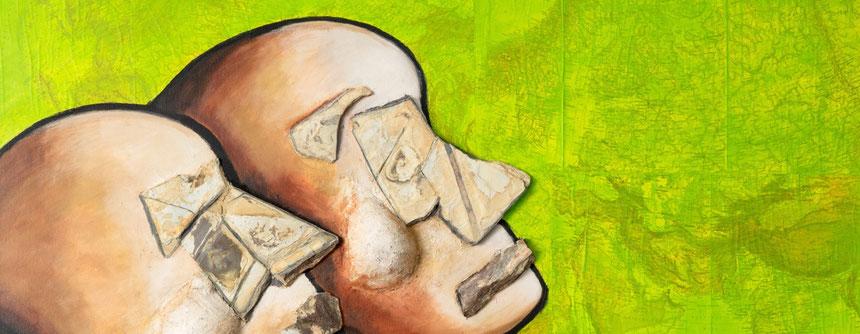 """Ausschnitt aus einem Werk des Zyklus """"Erdwächter - Earth Guardians"""" vom Künstler J.H. BLOCK in der tOG Düsseldorf / Foto: (c) tOG-Düsseldorf"""