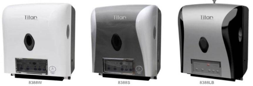 8288W, 8288S, 8288LB, Dispensador de Toalla en Rollo Automático. Colores: Blanco, Gris y Gris y Negro respectivamente. Medidas:300X237X410 mm