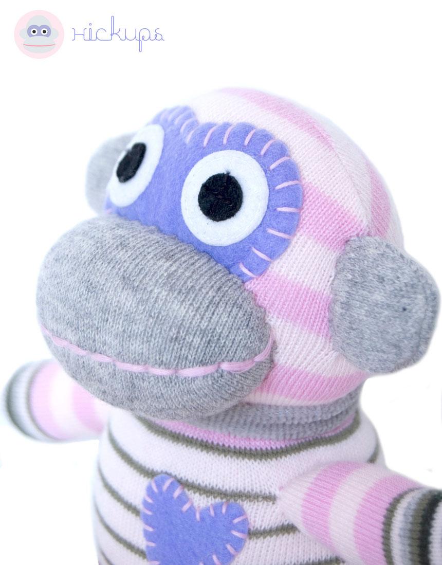 HickUps Sockenaffe Mini Grau Rosa