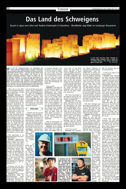 Lüneburger Landeszeitung, 26. Oktober 2013