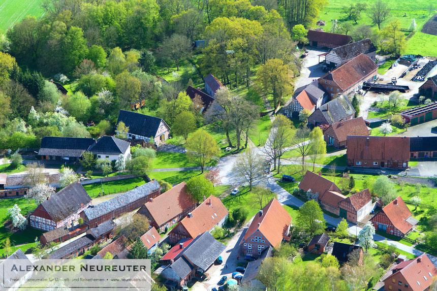 Schreyahn - eine hervorragend erhaltene Dorfstruktur mit gleichmäßigen, sektorförmigen Hofparzellen und wenig veränderten Vierständerhäusern.