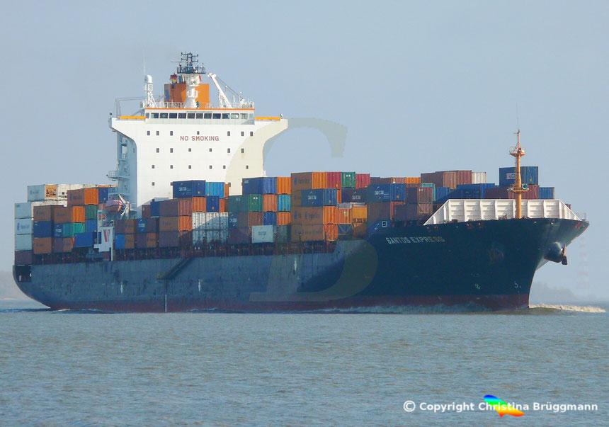 Containerschiff SANTOS EXPRESS, Elbe 08.04.2015