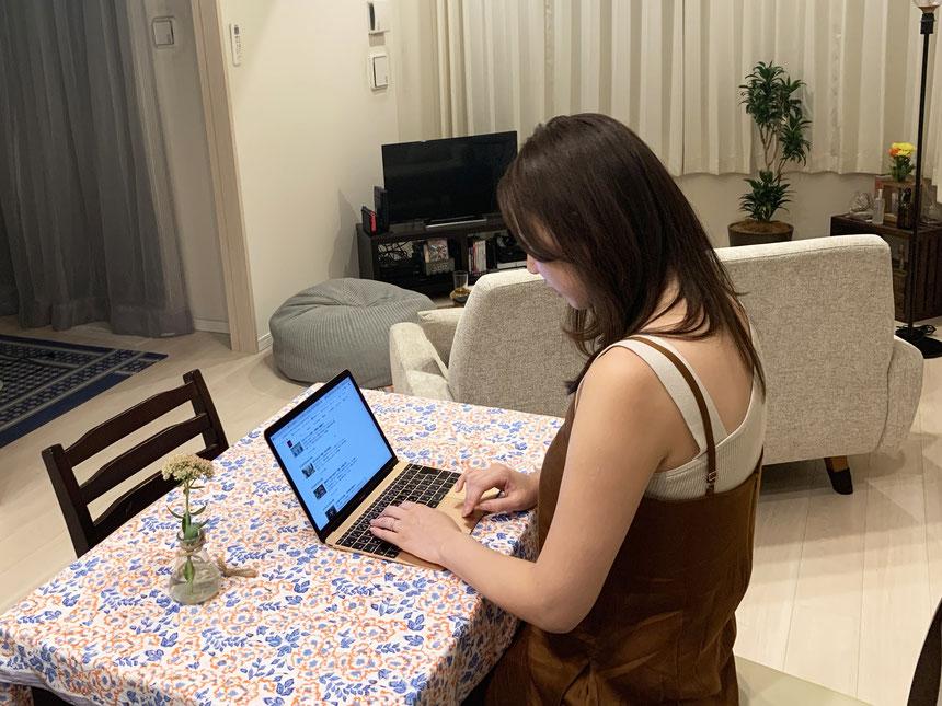 ▲自分の好きな時間に自宅で仕事ができる
