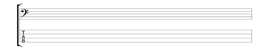 Ausschnitt mit einem Noten/TAB-System des Blocks für Bassisten (Tunesday Bestellnummer: TB03)