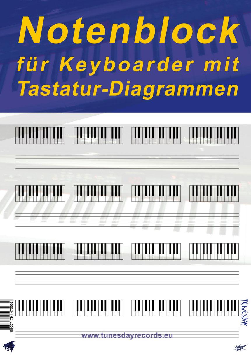 Dieses besondere Notenpapier beinhaltet neben 6 Notensystemen auch 24 Tastatur-Diagramme pro Seite zum Ankreuzen von Tastentönen!