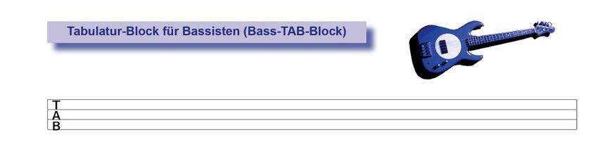 Ausschnitt aus dem Tabulatur-Block für Bassisten mit oberster TAB-Zeile - Tunesday-Bestellnummer:  TB04