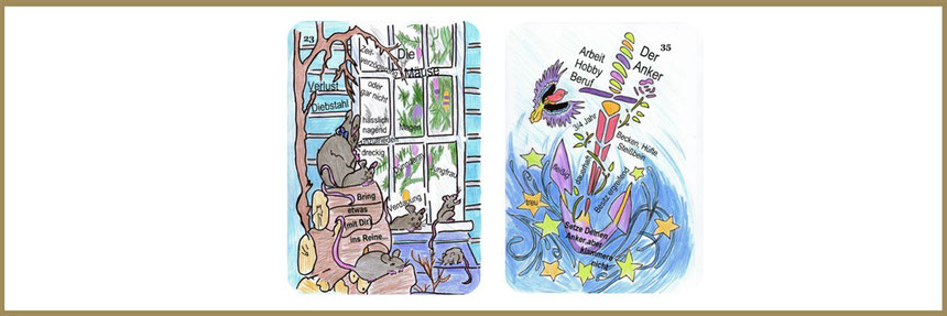 Lenormandlernkarten Dagmar Densdorf, Mäuse und Anker