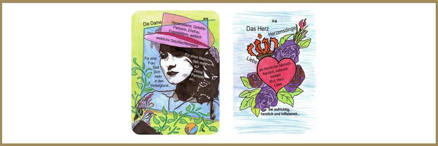 Lenormandlernkarten Dagmar Densdorf, Dame und Herz