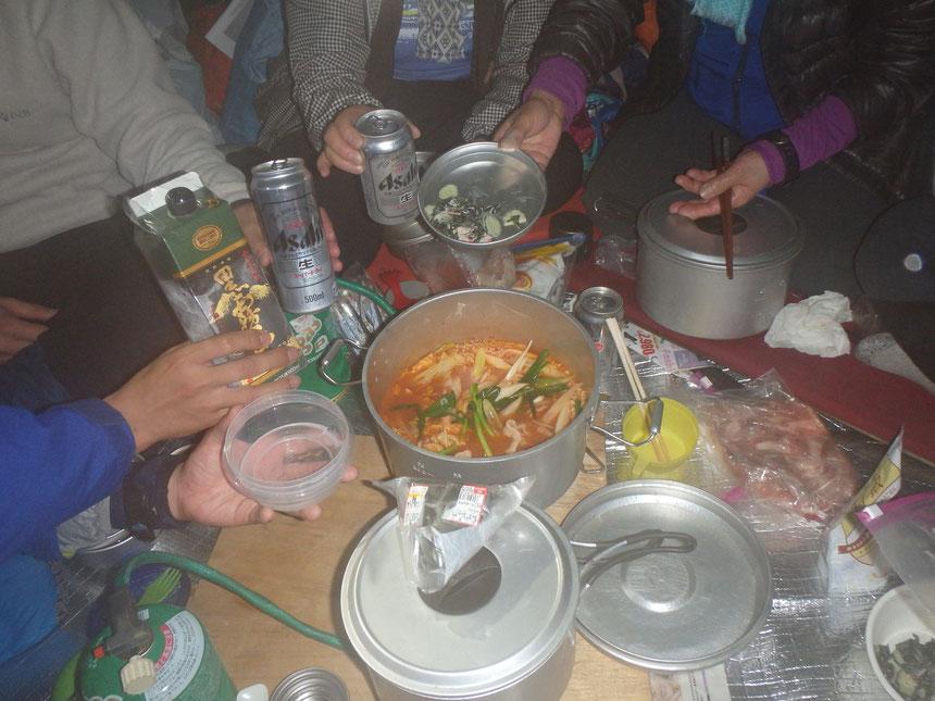 キムチ鍋(初日夕飯)