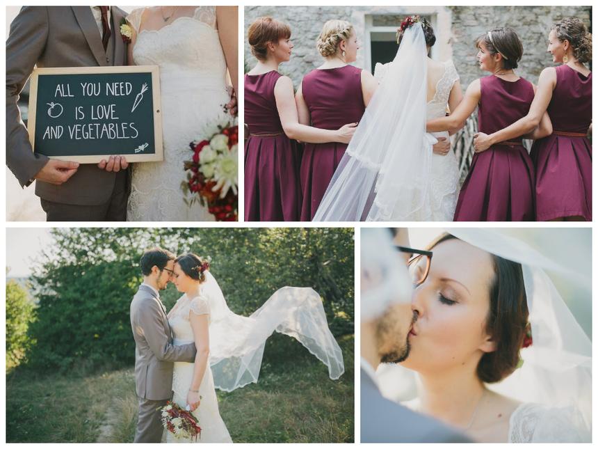 Fotos von Marias Hochzeit, mit Trauzeuginnen und Bräutigam.
