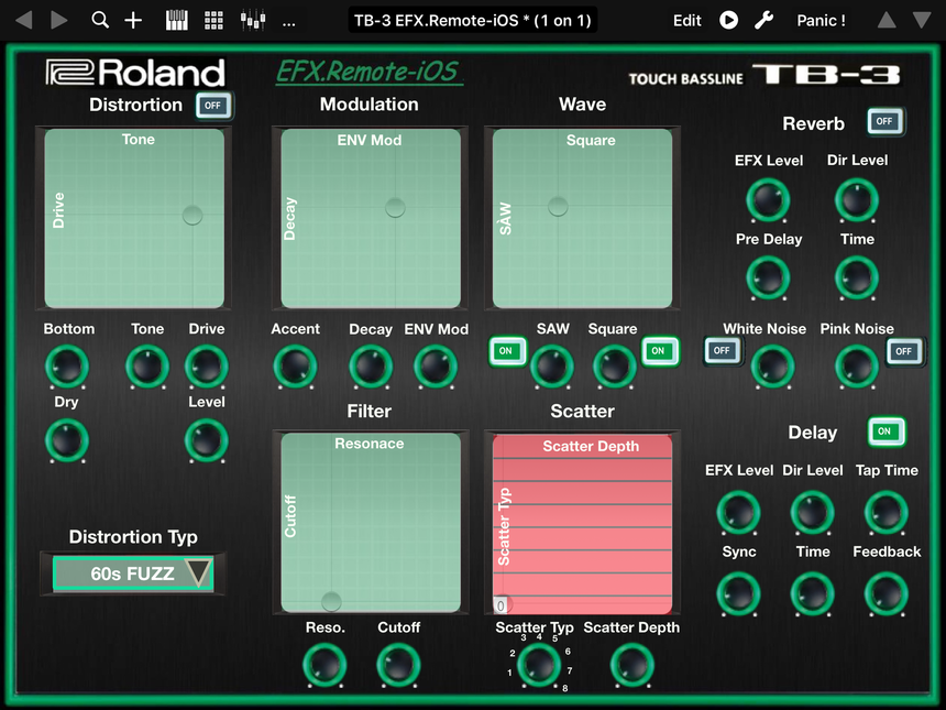 "Roland Aira TB-3 Editor for iPad ""EFX.Remote-iOS"""