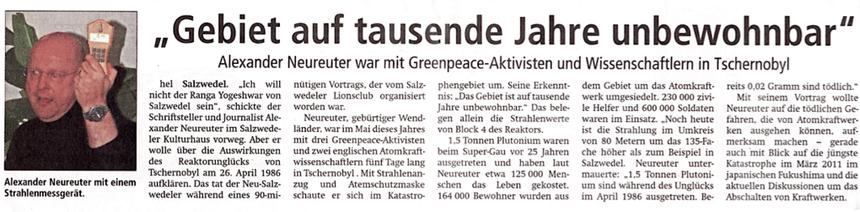 """aus der """"Altmark Zeitung"""" (Salzwedel) vom 1. Oktober 2011"""