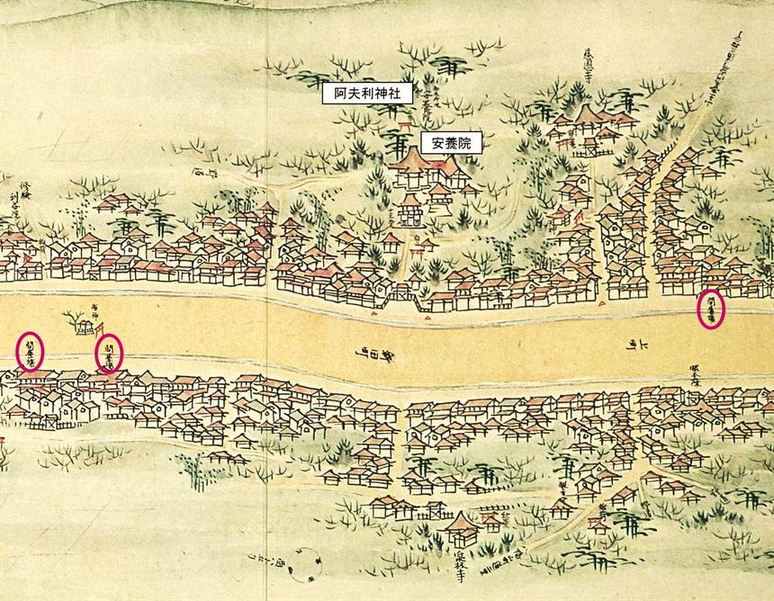 『中山道分間延絵図』の中山道本庄宿の画像
