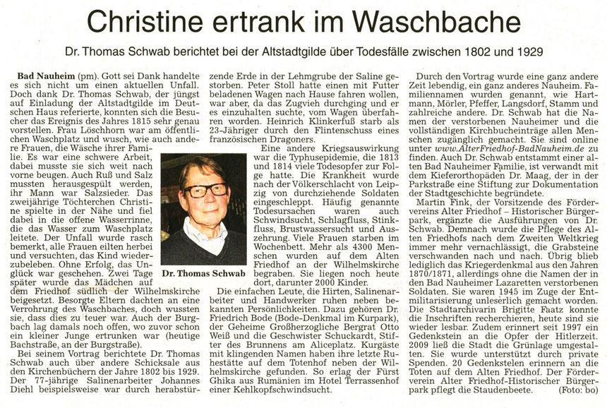 Christine ertrank im Waschbache, Förderverein Alter Friedhof - Historischer Bürgerpark e.V., WZ 02.10.2014, Foto: Eberhard Bogdoll