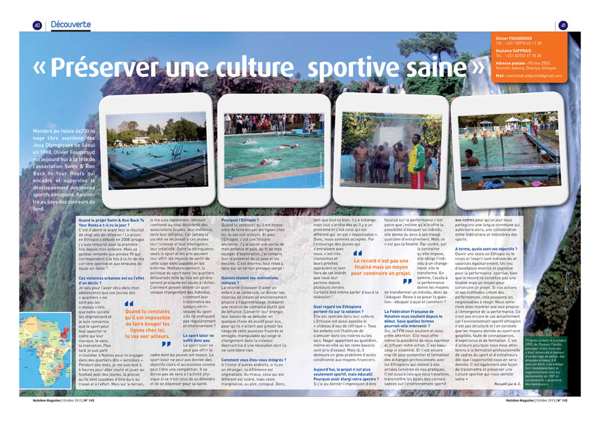 Article sur Swim & Run back to your Roots paru dans Natation Magazine N° 145