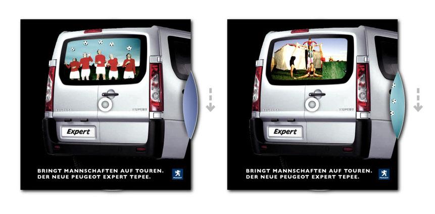 """Peugeot Expert Tepee, Parkscheiben-Mailing """"Der Mannschaftswagen"""""""