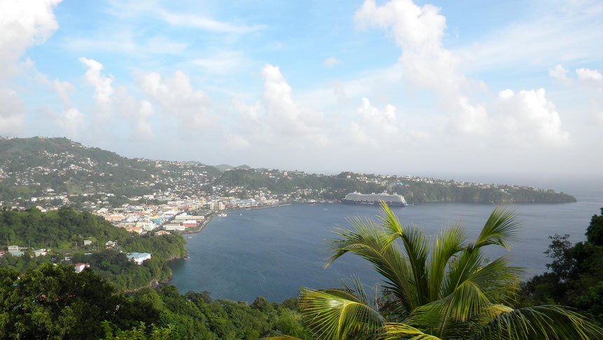 Blick vom Fort Charlotte auf Kingstown und Mein Schiff 3