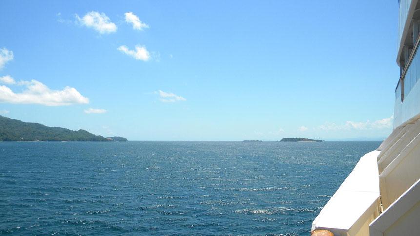 Blick vom Schiff nach Cayo Levantado