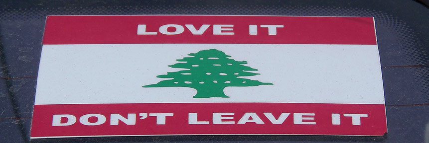 """Love it, don't leave it"": Spruch auf libanesischer Flagge"