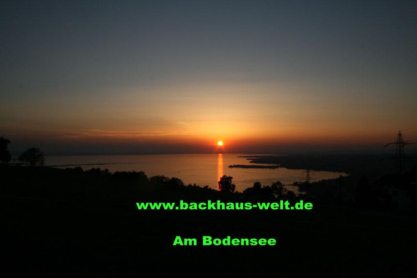 Sonnenuntergang am Bodensee Holzbackofen Gewölbeofen Steinbackofen