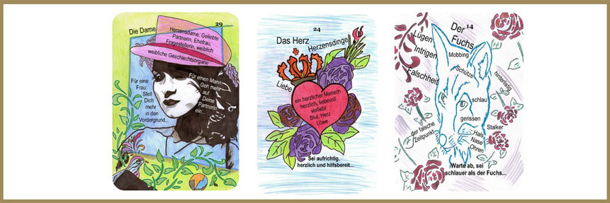 Dame, Herz und Fuchskarte Lenormand