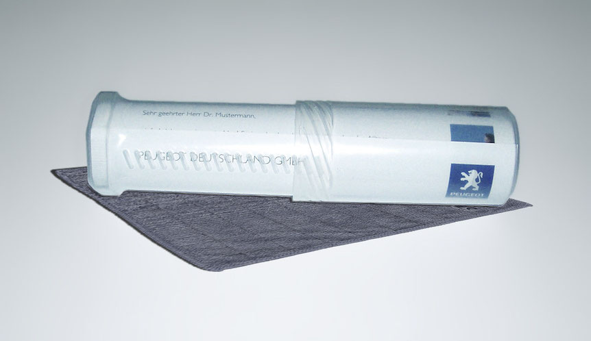"Peugeot Expert Tepee, Mailing ""Gelassen bleiben"" mit beigelegtem Mikrofaser-Schweisstuch"