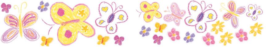 Wandaufkleber mit Schmetterlingen, Blumen & Pünktchen - liebevoll handgemaltes Motiv
