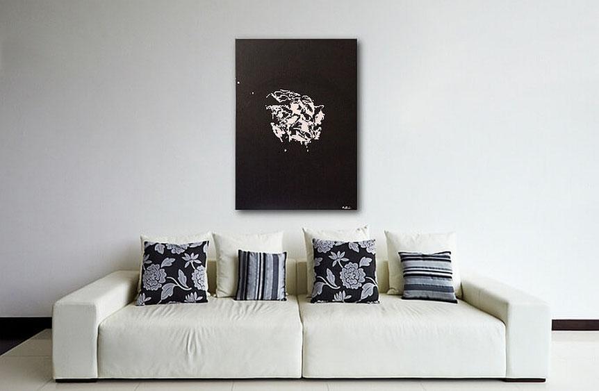Acrylbilder kaufen-Burk Art Acrylgemälde in schwarz-weiss-Jens Burkhardt-Wandbilderkunst.de