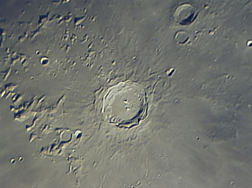 Copernicus Lunar Crater, Moon, Celestron 11 Telescope, TUCam Pro, Webcam, 1280x954px