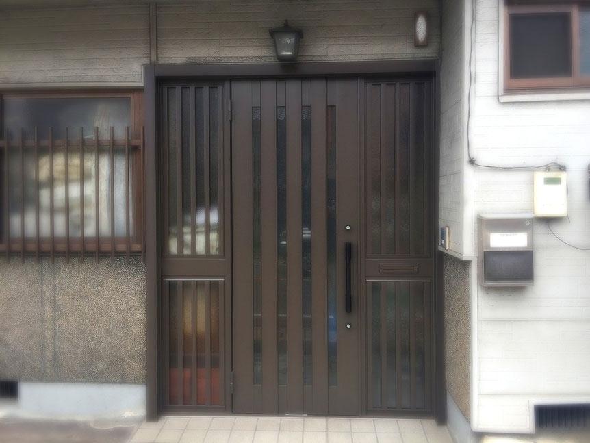 リシェント玄関ドア アルミ仕様 両袖片開きドア C12型 オータムブラウン色