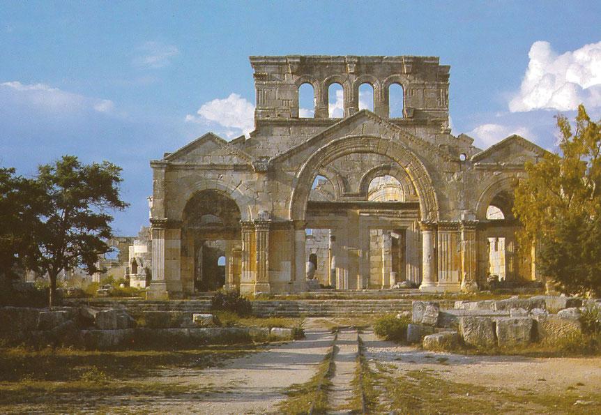 Kloster Qal'at Sim'an in der Nähe von Aleppo, errichtet um die Säule Simeons.