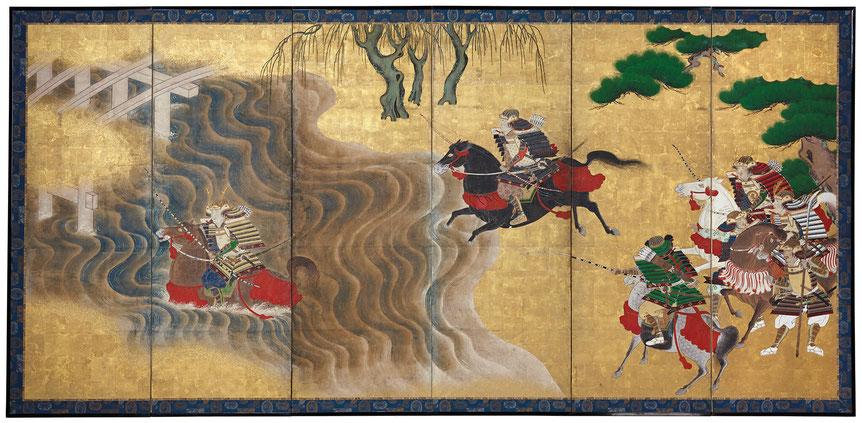 Japanischer Wandschirm Mittlere Edo-Zeit. Er zeigt eine berühmte Szene aus dem Genpei-Krieg. Zwei Samurai fordern einander heraus, wer zuerst den reißenden Fluss durchqueren kann.