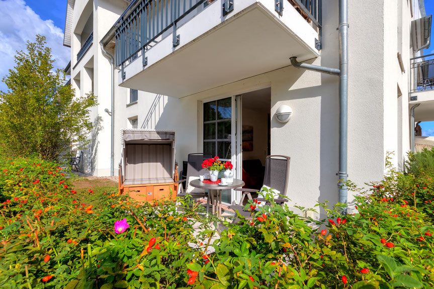 Residenz am Balmer See, Haus B mit Appartement 45, Ferienwohnung GolfundMeer, Kleine Terrasse, Photo © Tomasz Zając