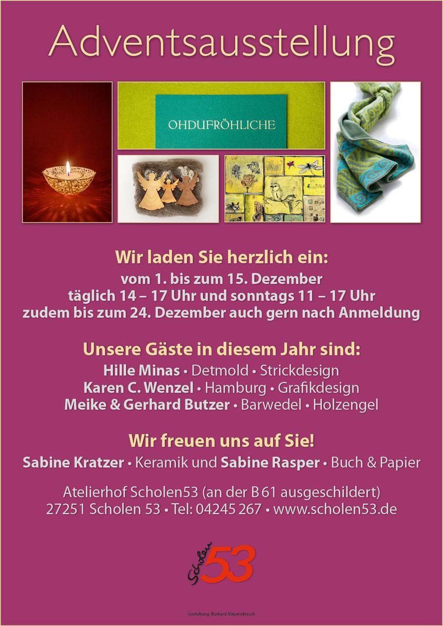 Plakat zur Adventsausstellung auf dem Atelierhof Scholen 53