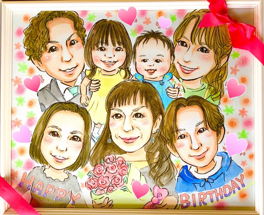 家族の似顔絵 プレゼント 三重県鈴鹿市