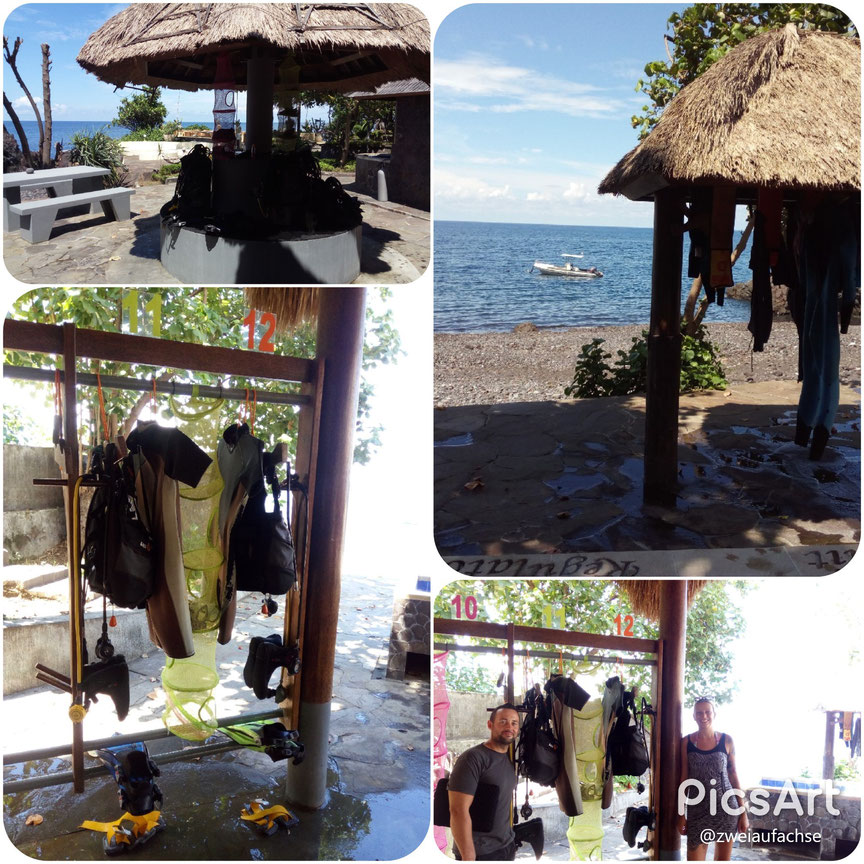 grosszügige Tauchbasis Komfort für Taucher Luft und Nitrox alamBaut-Hausriff Resort Tauchen Bali Paartauchgang
