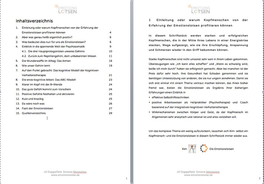 """Inhaltsverzeichnis des eBooks """"Raus aus der Erschöpfung"""" von den Emotionslotsen"""