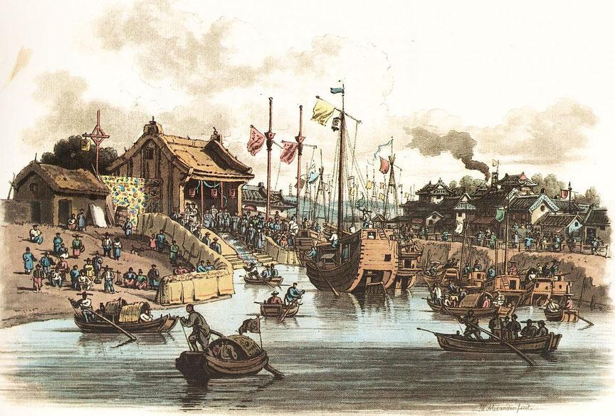 Construction temporaire à Tien-Sin, érigée pour la réception de l'ambassadeur, sur sa route de départ vers Canton.