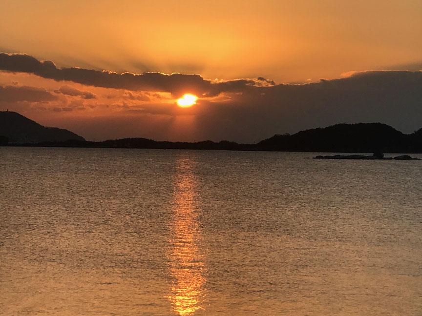 2018年1月1日【初日の出】山口湾(きらら浜)から昇る日の出