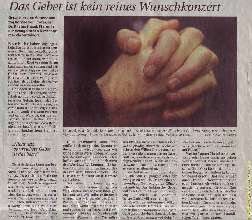 Hohenloher Tagblatt, 24. Mai 2014, S. 15
