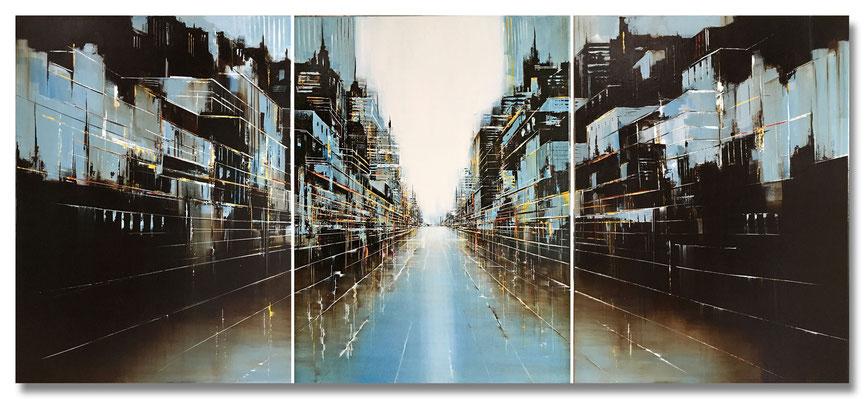 """Stadtlandschaft"" - Mischtechnik auf Leinwand - 3x60x80"
