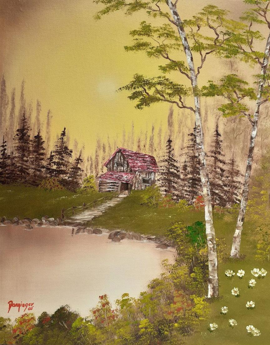 Florida Haus am See, Öl auf Strukturpapier. Handgemaltes Landschaftsgemälde by Daninas-Kunst-Werkstatt. Wussten Sie, dass Naturbilder Ihr Wohlbefinden steigern? Wie? Schauen Sie doch mal auf meiner Website vorbei …
