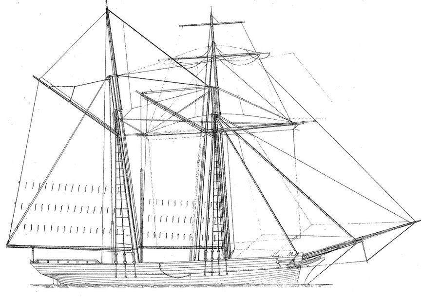 Plan de la petite goélette de pêche à Islande  « Léonie Céline » mesurée en 1866 par l'amiral Paris à Paimpol.