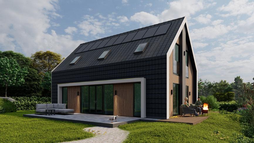 Vooraanzicht 3D ontwerp vrijstaande woning Zevenhuizen
