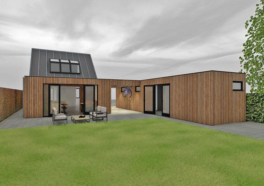 Achteraanzicht 3D ontwerp vrijstaande woning Zevenhuizen