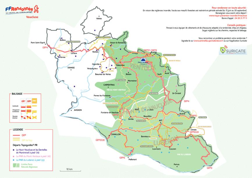 Réseau des sentiers en Vaucluse