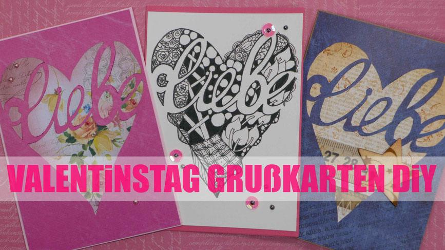 Valentinstag - Grußkarten für sie und ihn basteln - DIY-Projkekt