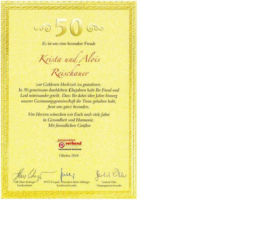 Gratulation zum 50. Hochzeitstag von Krista und Alois Reischauer ...