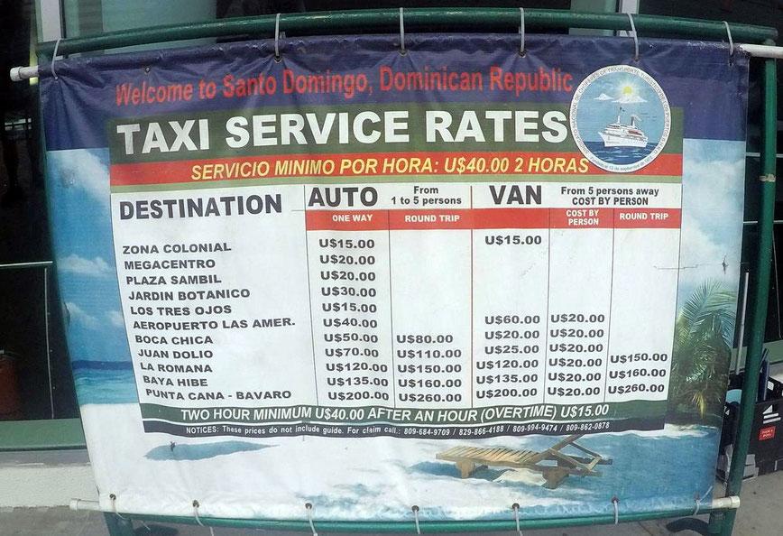 Taxi-Preisliste am Terminal